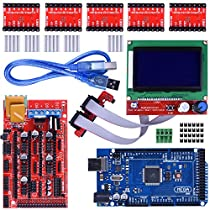 Longruner 3d Printer Controller Kit Mega 2560 R3 + Ramps 1.4 + 5pcs A4988 Stepper Motor Driver with Heatsink + LCD 12864 Graphic Smart Display Controller with Adapter for Arduino Reprap