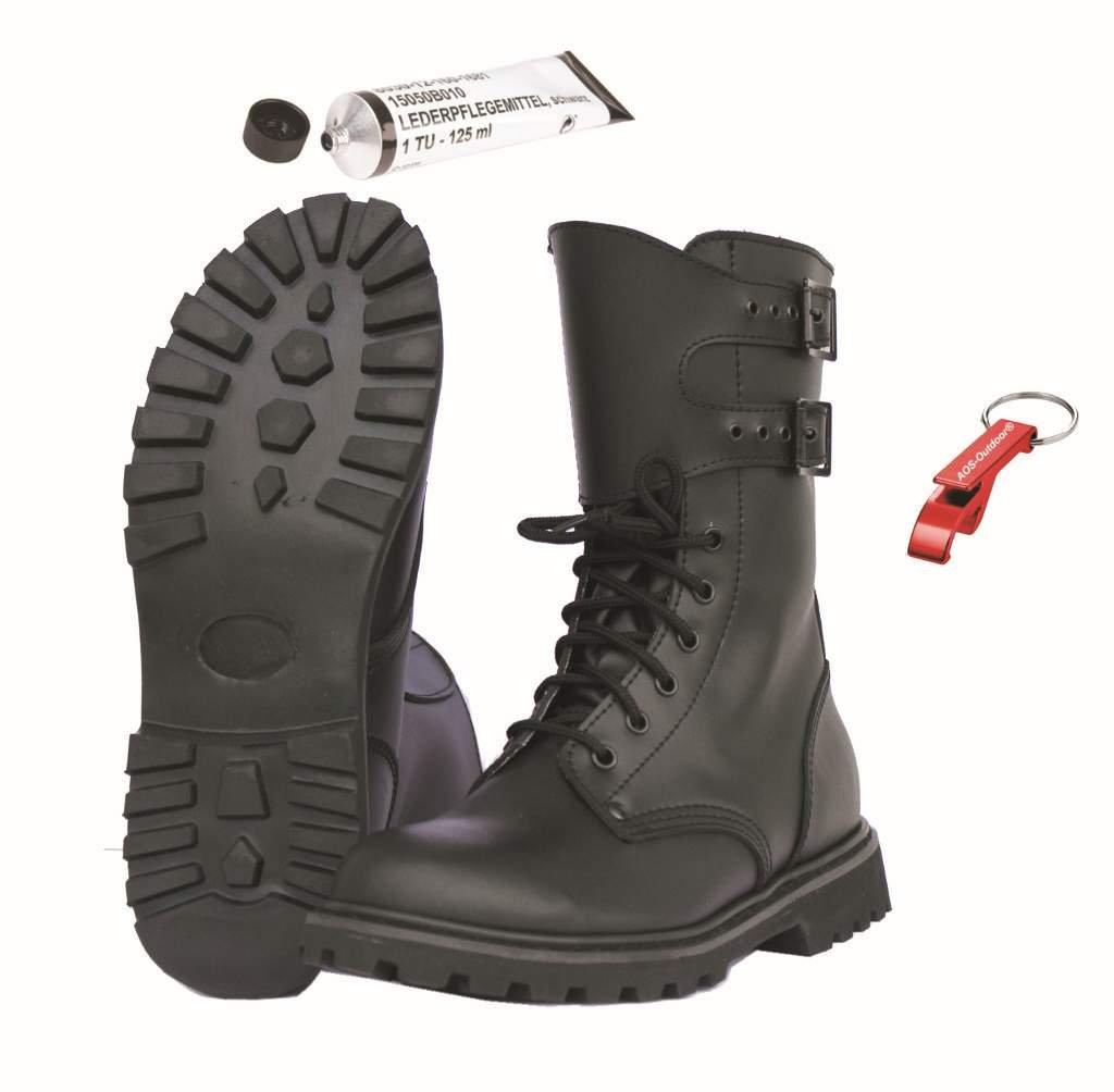 Französische Leder Kampfstiefel Legionärsstiefel + Schuhpflegemittel + AOS-Outdoor® Schlüsselanhänger