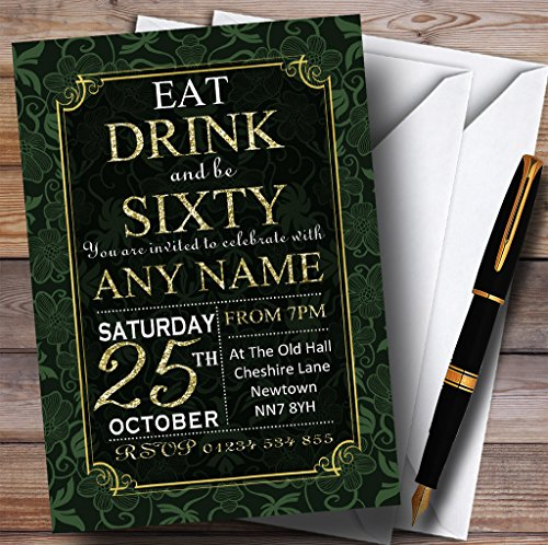 Green & Gold Flowers 60th Personalized Birthday Party Invitations