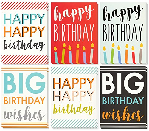 Large Birthday Cards Box Set - 12 Pack Jumbo Happy Birthday Cards, 6 Assorted Designs, Birthday Cards Bulk, Envelopes Included, 8.5 x 11 Inches (Big Happy Birthday Card)