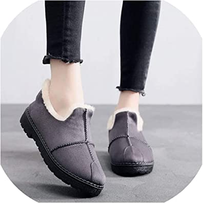 Winter Women Warm Plush Flats Comfort Loafers Non-Slip Indoor Walking Boat Shoes