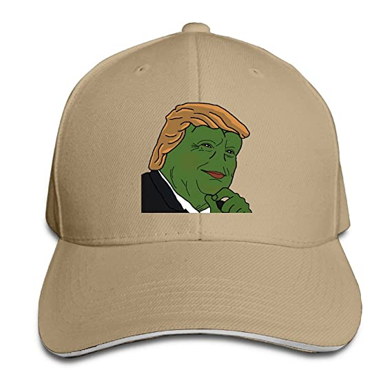89230c43ca6 Amazon.com  Baseball Caps Hats Cotton Adjustable PEPE The Frog Trump   Clothing