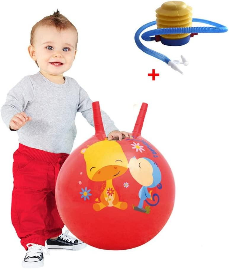 PER Hopper Ball Inflatable Thickened Jumping Hopping Balls With Handles For Kids Toddlers 15IN-Red