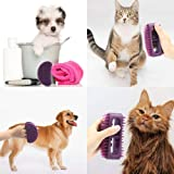 Famobest Dog Brush & Cat Brush, Pet Grooming Brush- No More Shedding Grooming Tools- Brush Removes All Hair, Tangles, Cleans & Desheds- Best Slicker Brush for All Pet Sizes & Hair Types Purple