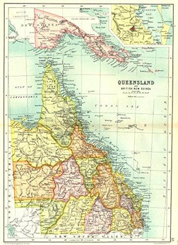 Map Of Brisbane Australia.Amazon Com Queensland State Map Counties Inset Brisbane Australia