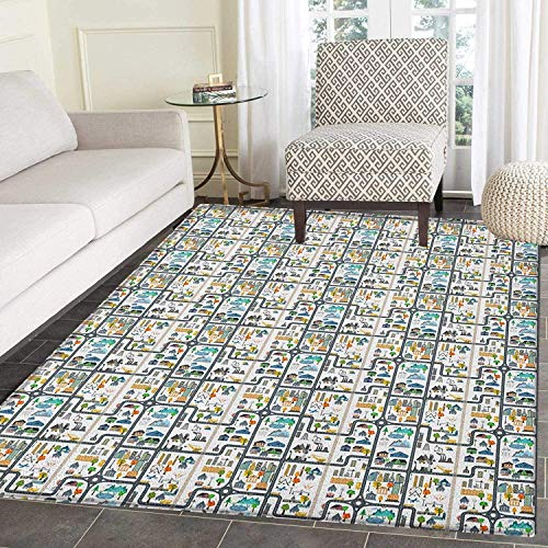 Kids Car Race Track Roadway Activity Area Rug Carpet Graphic Illustration of Cityscape Divided by Roads Living Dining Room Bedroom Hallway Office Carpet 3'x4' ()