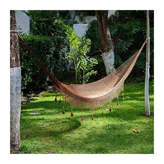 NOVICA Nylon Brown Rope Hammock 'Copper Filigree' (Triple) - Authentic: an original NOVICA fair trade product in association with National Geographic Certified: comes with an official NOVICA Story Card certifying quality & authenticity Product info: 100% nylon with pinewood beads - patio-furniture, patio, hammocks - 61KAk%2BgCnjL. SS570  -