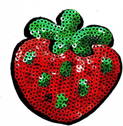 MNC parche rojo fresa parche hierro en coser en Cartoon Logo ...