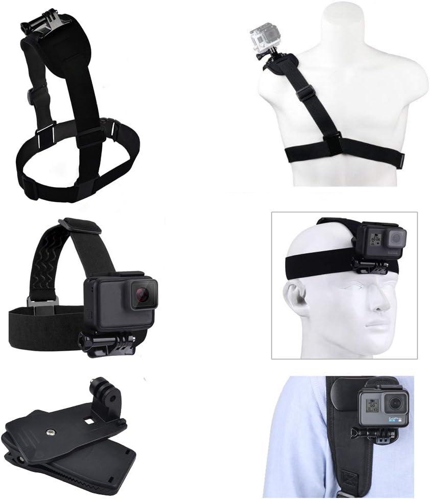 مجموعة حزام التثبيت من آسي ليست 3 من غوبرو تتضمن مشبك حقيبة ظهر 360 درجة، حامل حزام للكتف، حامل رأس لـ جو برو هيرو 5، أسود، الجلسة، هيرو 4، الجلسة، أسود، فضي، هيرو إل سي دي، 3، 3، 2، 1