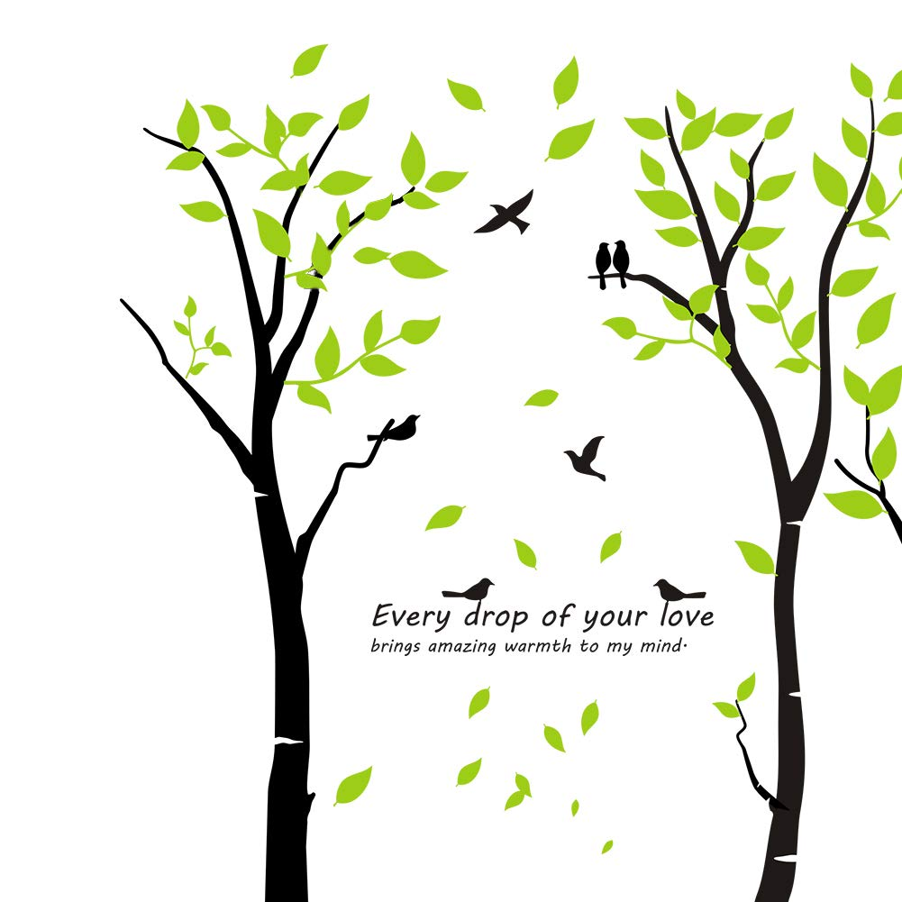 Mix Decor Tree Wall Decal - 7 Trees Wall Sticker Large Family Forest for Livingroom Kid Baby Nursery Room Deer Wooland Decoration Party Birthday Gift,118x83 Inch Black + Green by Mix Decor (Image #4)
