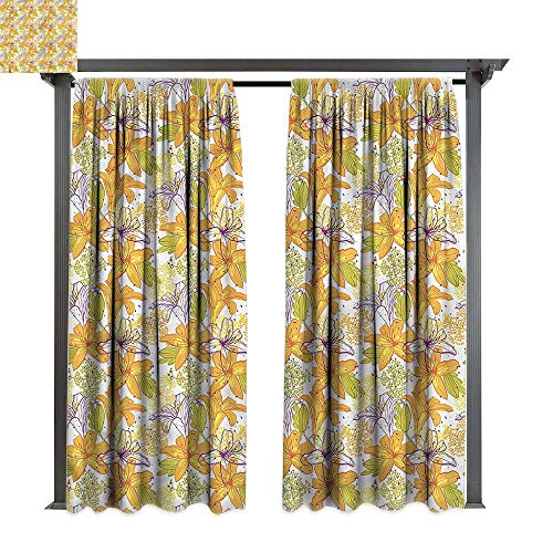 cobeDecor UV Protectant Indoor Outdoor Curtain Panel Floral Lily Petals Exotic Bloom for Lawn & Garden, Water & Wind Proof W108 ()