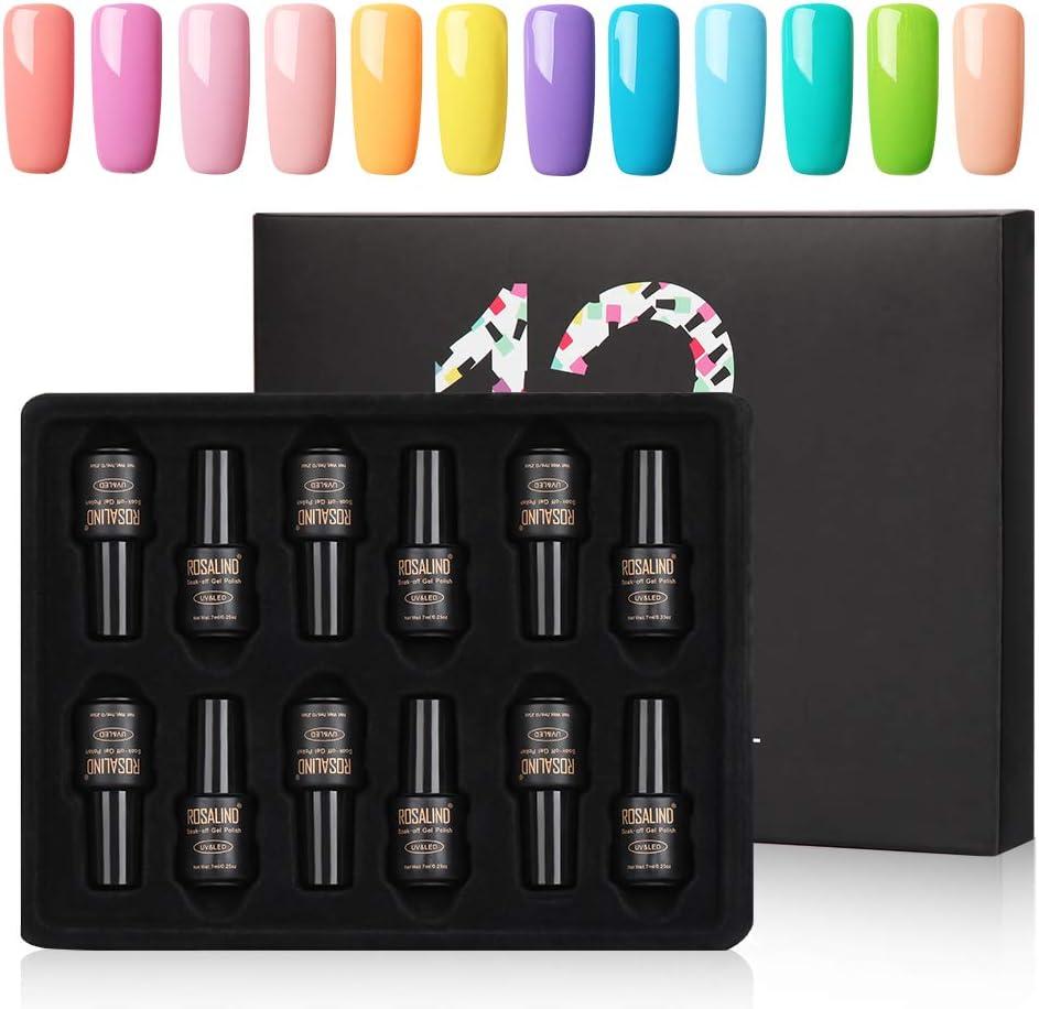 ROSALIND Esmalte Semipermanentes UV LED 12pcs Kit Uñas de Pintauñas Gel Soak off Summer Color Sólido de Larga Duración Esmalte de Uñas 7ml: Amazon.es: Belleza