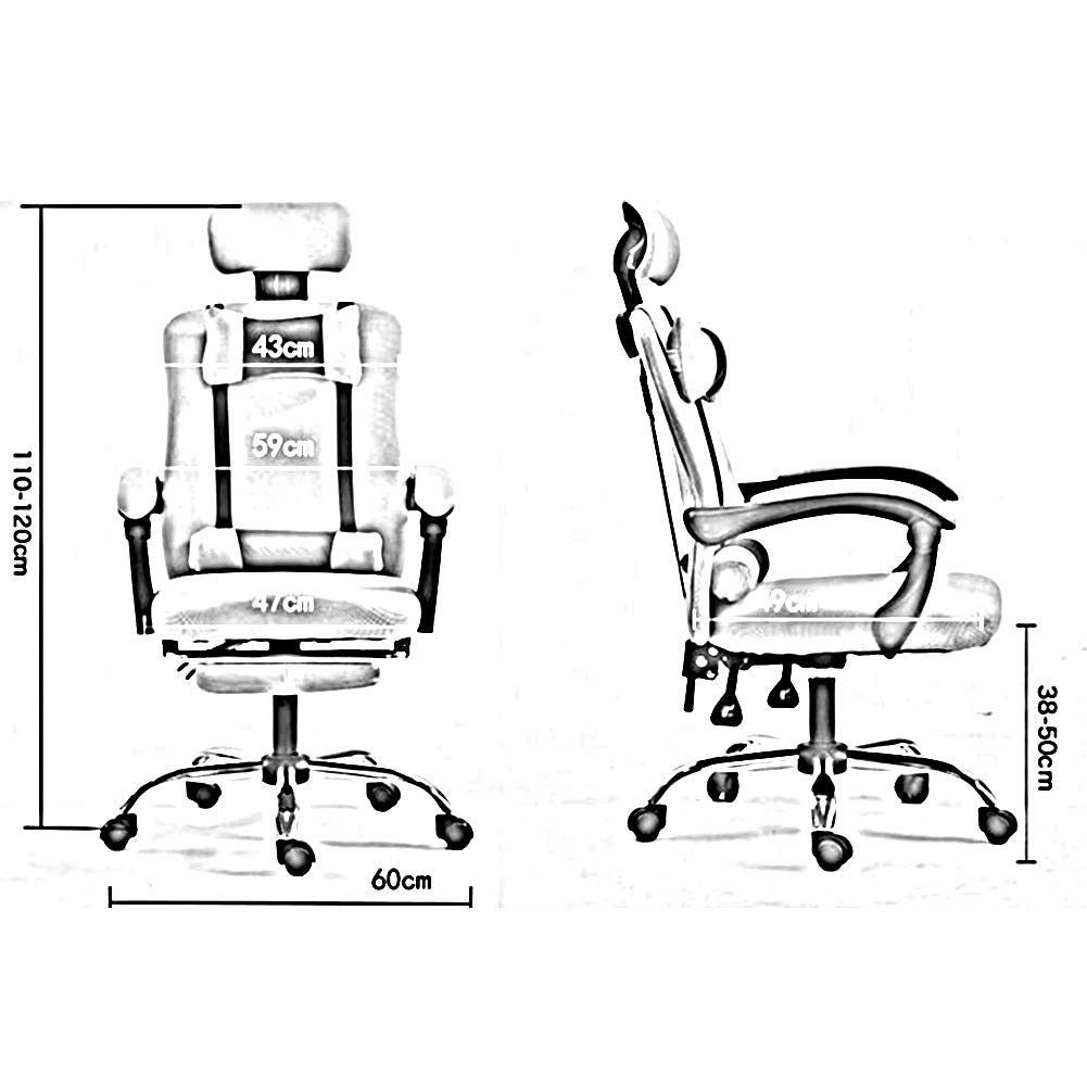 JIEER-C Fritidsstolar svängbar kontorsstol ergonomisk hög rygg justerbart nackstöd sitthöjd ländrygg stöd hållbar stark BLÅ
