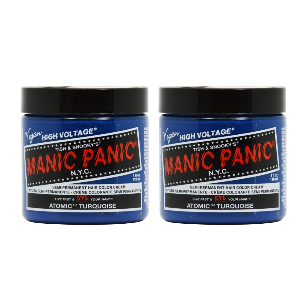 Manic Panic Semi-Permanent Hair Color Cream ATOMIC TURQUOISE 4 oz Pack of 2