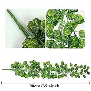 ReachTop Artificial Ivy Leaves Garland, 90cm 35inch Office Greenery Fake Silk Watermelon Leaves Foliage Hanging Vine Plant for Home Fence Wedding Party Garden Wall Decoration 3