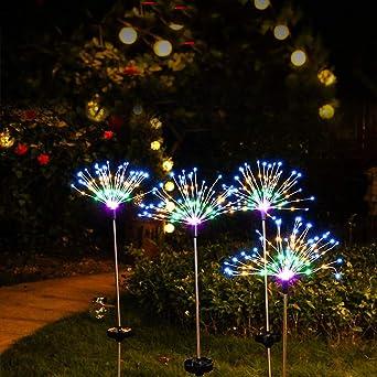 Nulala – Lámpara solar decorativa LED para jardín, funciona con energía solar, 20 ledes, luz de paisaje, flores, árboles, 8 modos, impermeable, para decoración navideña, Colorful, 80cm 120lights: Amazon.es: Iluminación