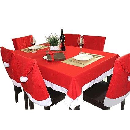 Mogomiten 6+1 Set de decoración navideña, Juego de 6 Fundas para sillas de