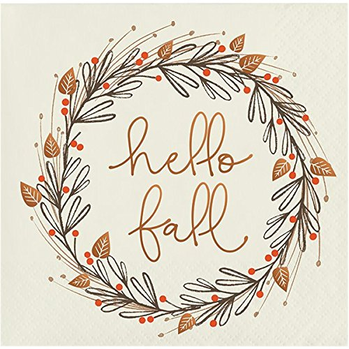 Hello Fall Holiday Thanksgiving Party Paper Napkins Beverage Size Pk -