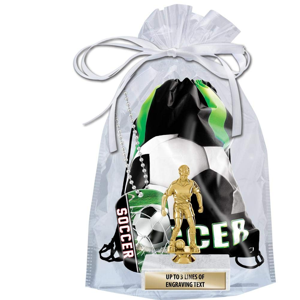 Crown Awards Soccer Goodie Bags, Soccer Favors for Soccer Themed Party Supplies Comes with Custom Girls Soccer Dribbler Trophy, Soccer Dog Tag and Soccer Drawstring 20 Pack Prime by Crown Awards (Image #2)