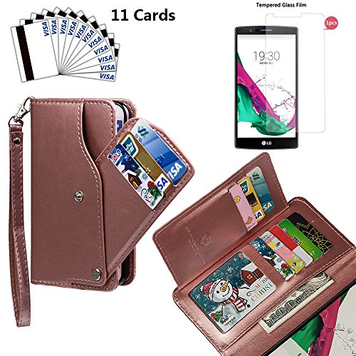 xhorizon TM FLK [Upgrade] [Detachable] [Separable] 2 in 1 Top Notch Leather Magnetic Car Mount Phone Holder Compatible Lanyard Wallet Case for LG G4 with 9H Tempered Glass Film from xhorizon