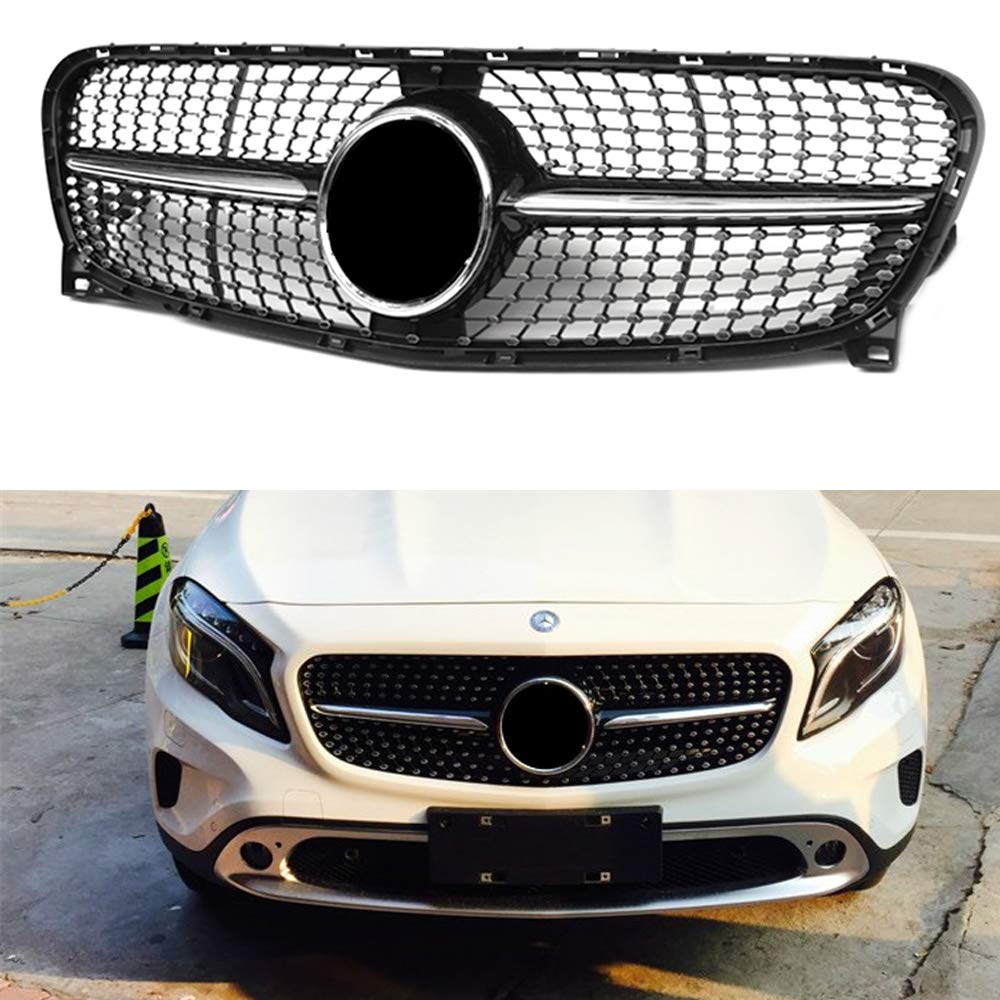 Diamond grille suitable for M-Benz GLA Class X156 Grill GLA180 200 250 GLA45 2014-16 ABS X156 radiator mesh without central logo MAXCAR