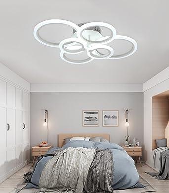 WENSENY LED Deckenleuchten 66W Acryl Moderne Deckenlampe Wohnzimmer  Schlafzimmer Unterputz Deckenleuchte Kreis 6 Ringe Leuchten Stilvolle