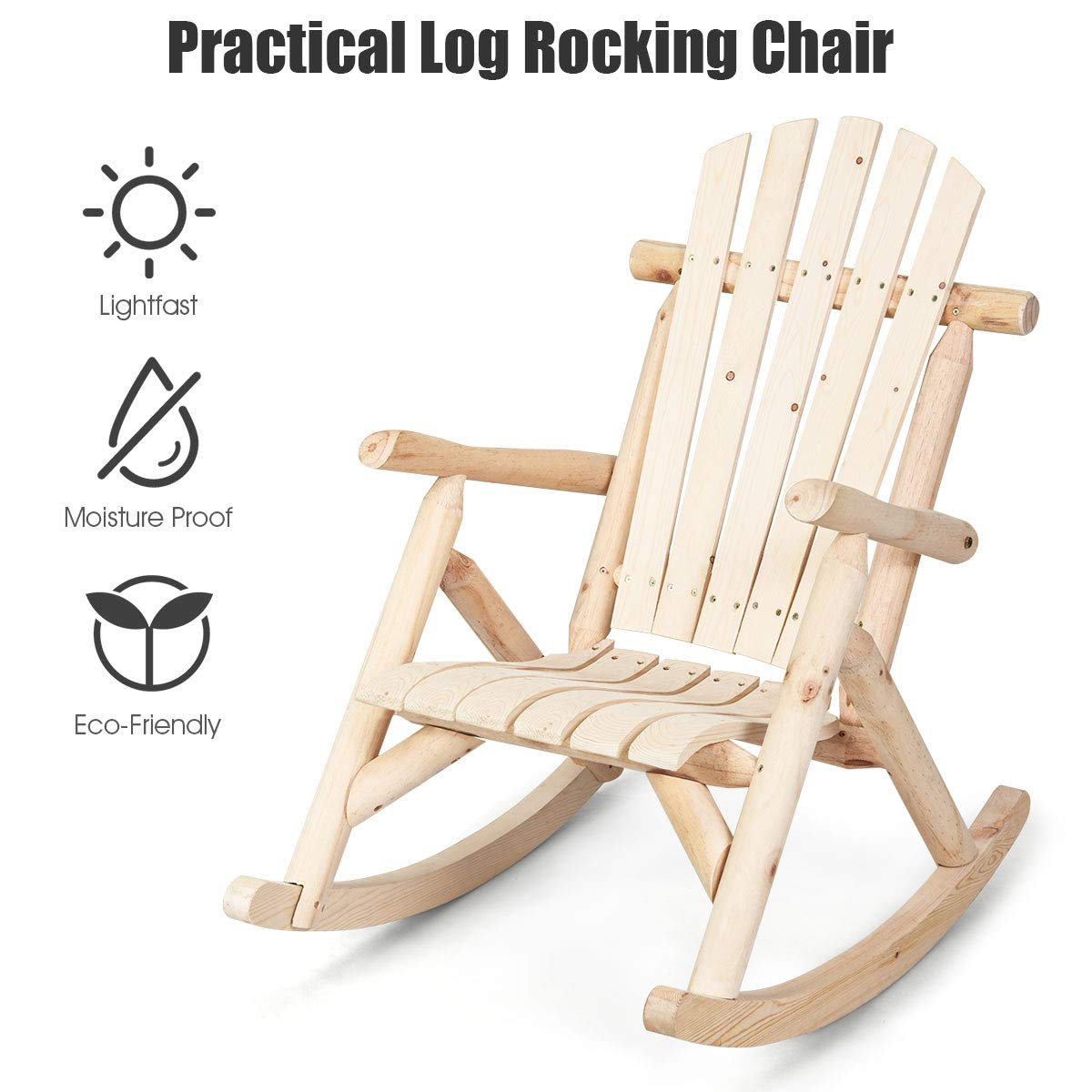 Giantex Log Rocking Chair Wood Porch Rocker Lounge Patio Deck Balcony Furniture Rustic Single Rocker Natural