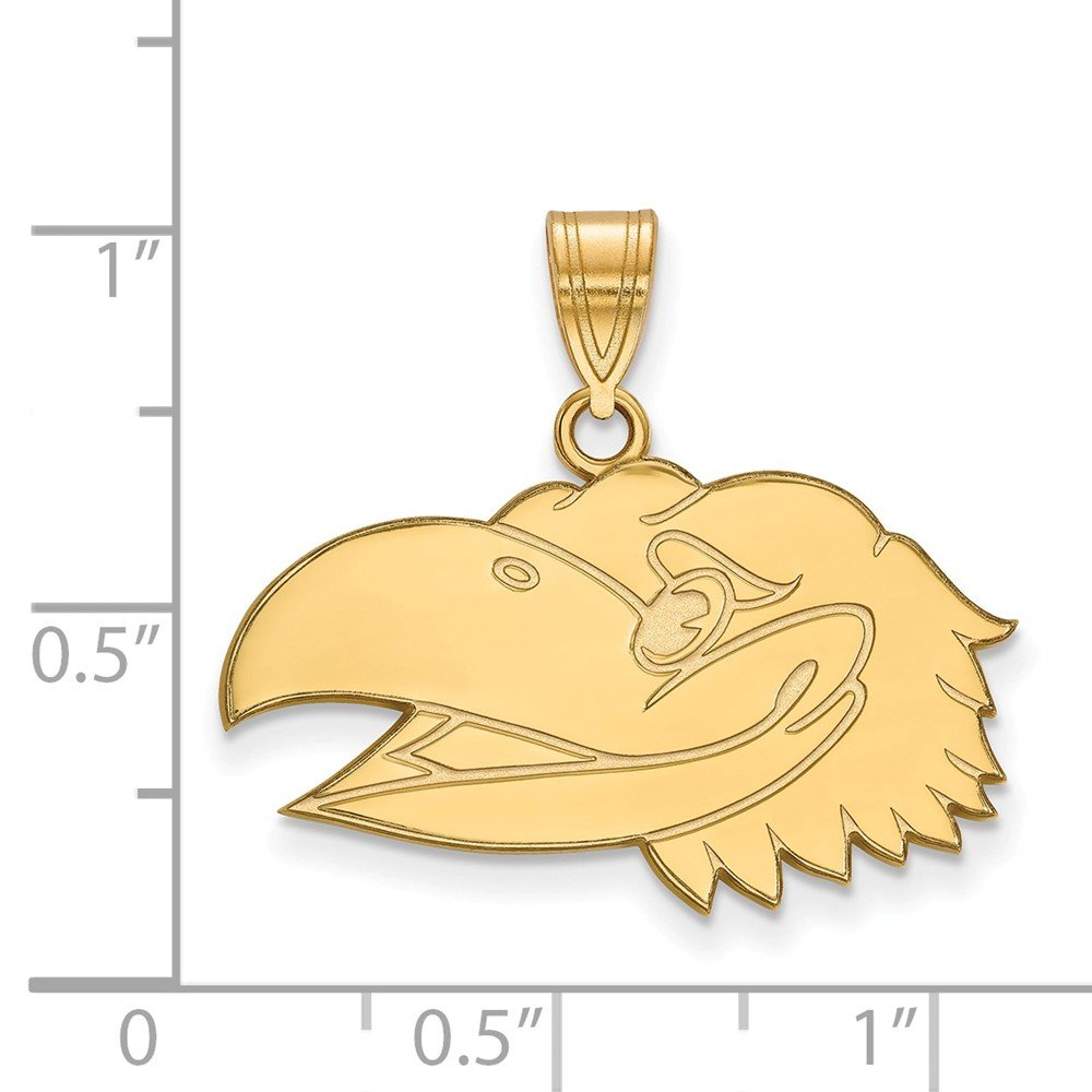 25mm x 24mm Jewel Tie 925 Sterling Silver with Gold-Toned University of Kansas Medium Pendant