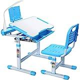 Forfar Kids Study Desk and Chair Set with LED Light Children School Desk Height Adjustable Kids Desk Ergonomic Design School