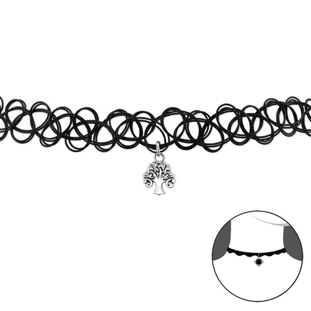 Celtic Tree Of Life Choker Necklace Black Stretch Sterling Silver 925 (E32968)