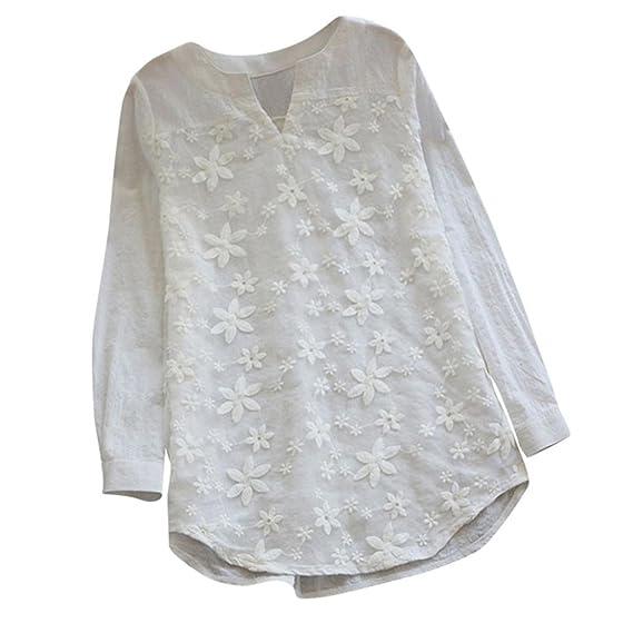 ... Camisas Mujer Tallas Grandes Tops Mujer Talla Grande Largos Camisas Mujer Elegantes Blusas Mujer Tallas Grandes Blancas: Amazon.es: Ropa y accesorios