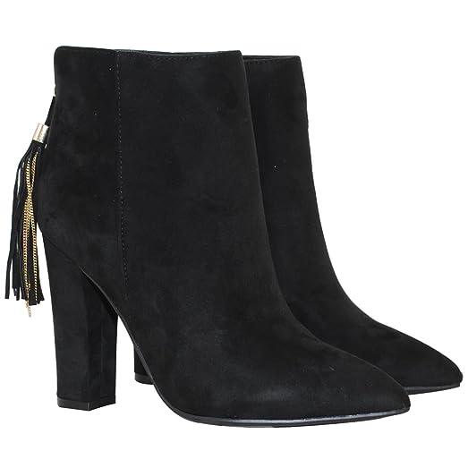 TRENDSup Collection Women Micro Fiber Suede Fringe Fashion High Heel Booties