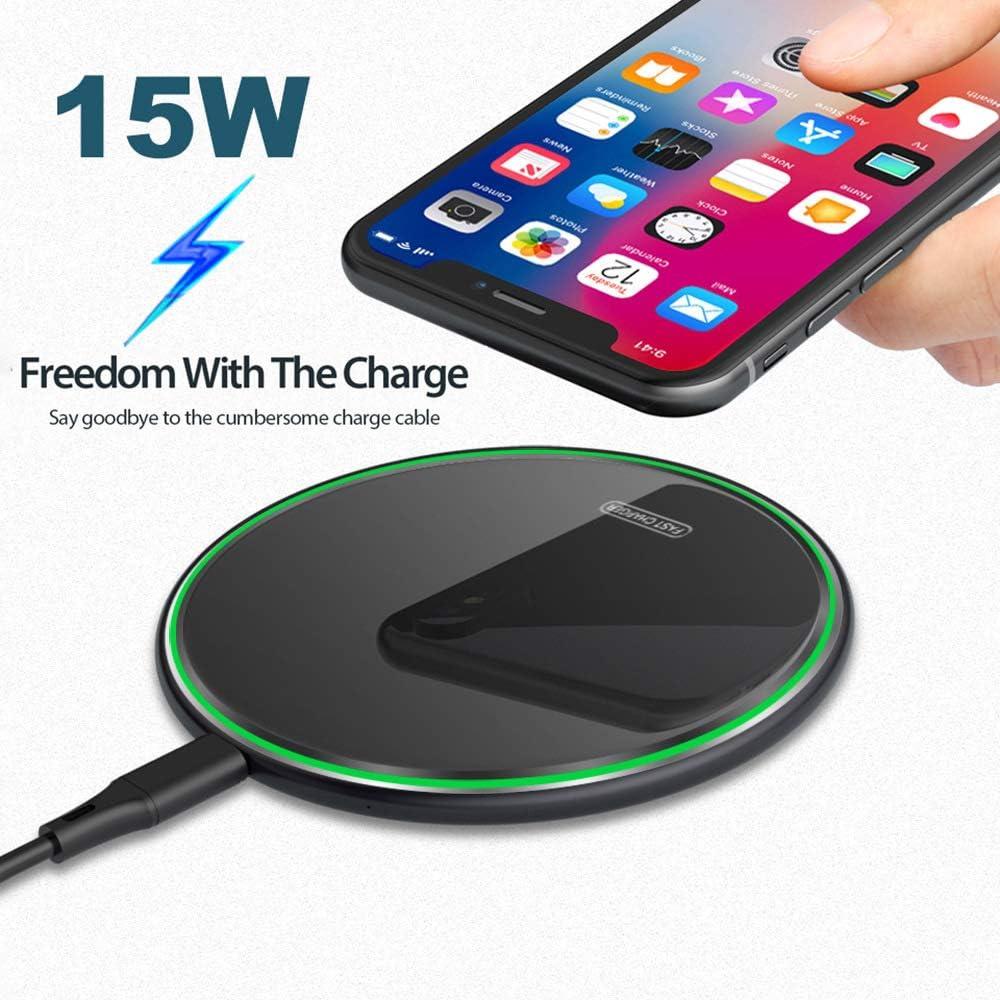 WMFL Cargadores inalámbricos para teléfonos celulares, Cargador inalámbrico Qi Glass de 15W / 10W rápido para Carga inalámbrica Huawei P30 Pro Samsung