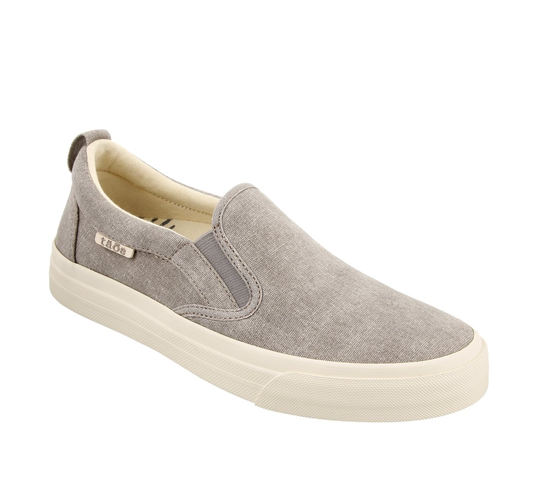 Taos Footwear Women's Rubber Soul Slip On B073MHYRTD 8.5 M US|Grey Wash Canvas