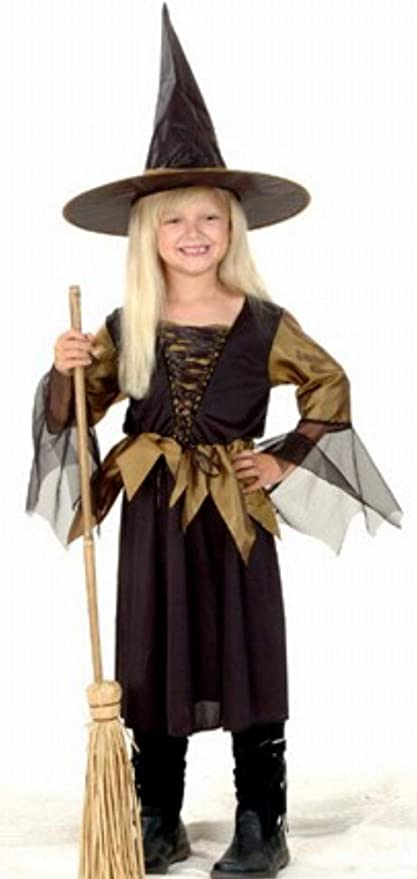 Disfraz de bruja negro y dorado para niña: Amazon.es: Juguetes y ...