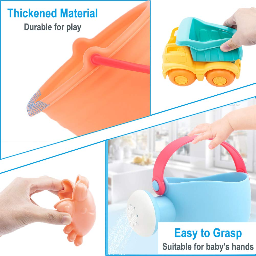 Dreamon Beach Sand Toy Set for Toddlers 9pcs Soft Material Bucket Spade Rakes Watering Can Molds and Truck for Sandbox Sandpit