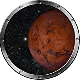 "12"" Porthole Instant Outer Space Ship Window View PLANET MARS #1 SILVER Wall Sticker Kids Decal Room Home Art Décor Graphic SMALL"