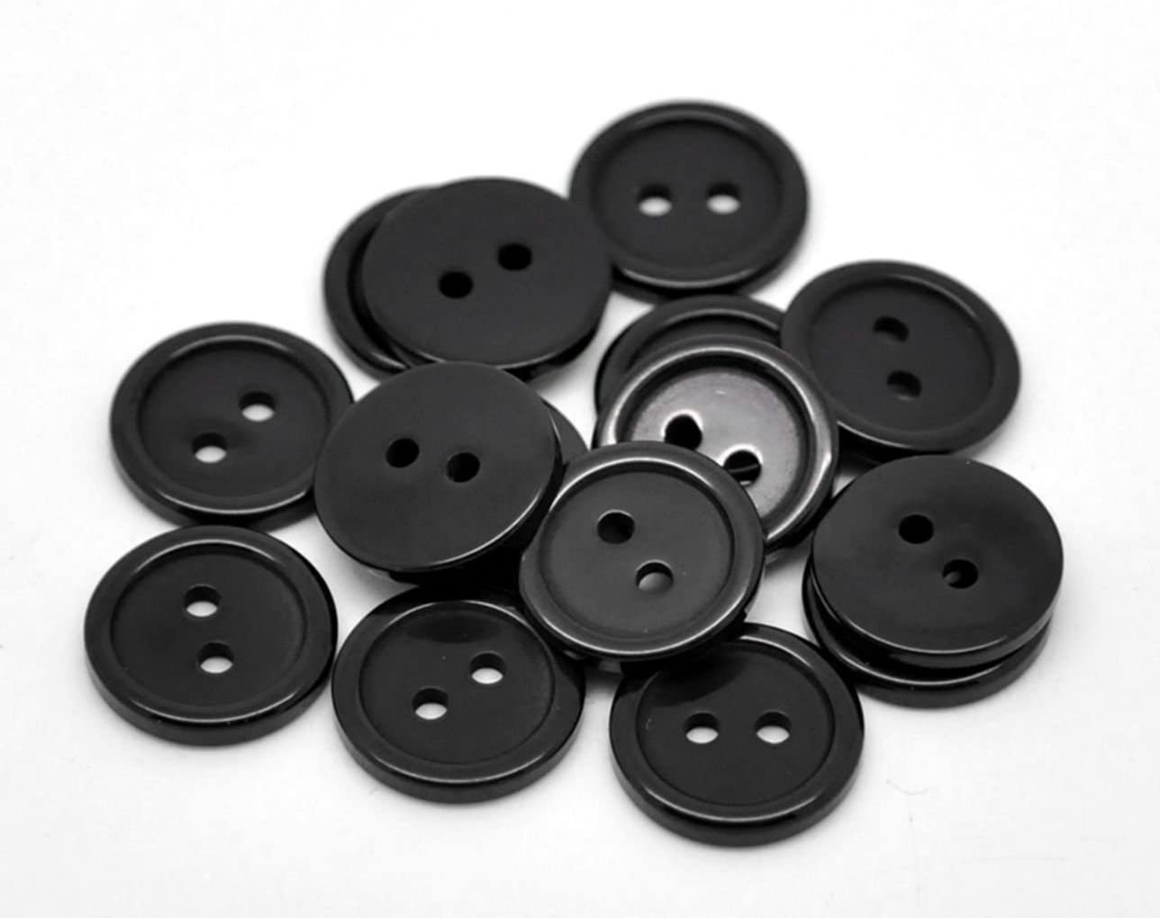 20 11mm Round Plastic 2 Holes Resin Plain Buttons with Dark Red Rim Craft