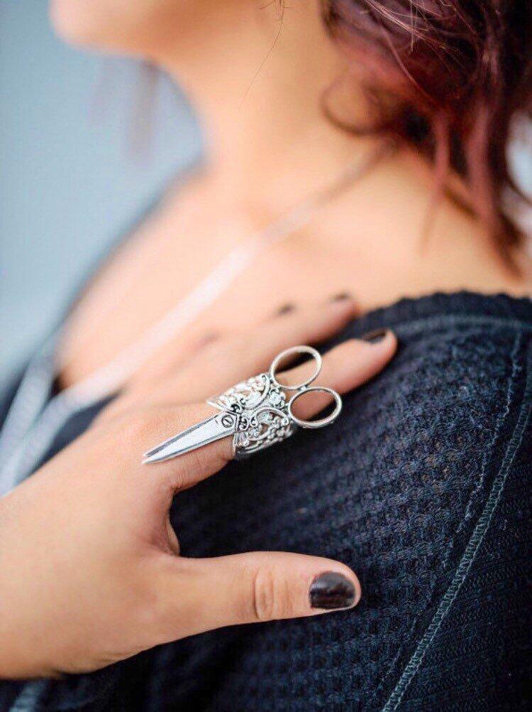 Scissor Ring silver Steampunk Hairstylist Gift Jewelry Adjustable