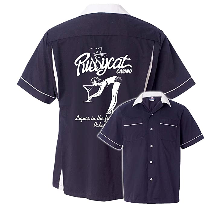 Mens Vintage Shirts – Casual, Dress, T-shirts, Polos Pussycat Casino Stock Print on Classic Bowler 2.0 $44.95 AT vintagedancer.com