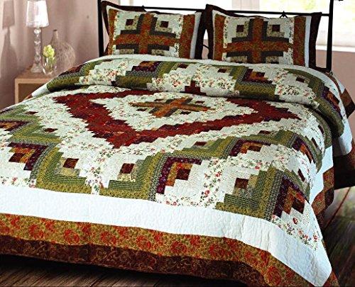 Log Cabin Quilt Luxury Super King Size Handmade Cotton Bedding Brand Elegant Decor