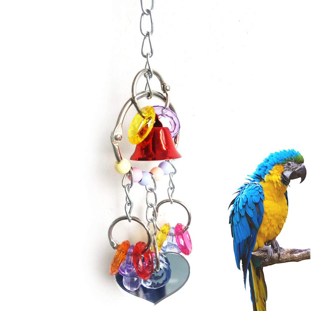 Nice Bell Heart Ring Parrot Toy Gift Colorful Bird Cage Swing Hanging Accessory Premium Quality by Yevison