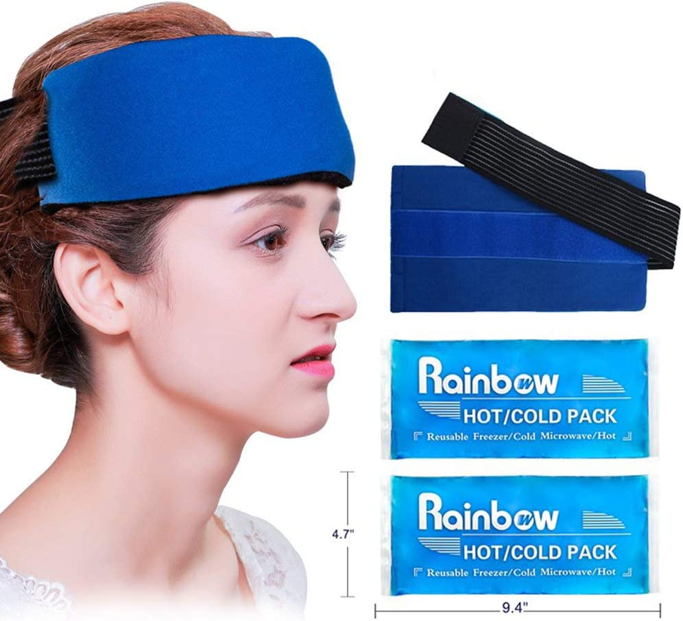 2 Reusable Head Gel Ice Packs, Wearable Migraine Relief Hot Cold Therapy Pack with Elastic Strap, Flexible Ice Wrap with Soft Fabric Backing for Headache, Chemo, Sinus, Head Tension, Fever, Menopause