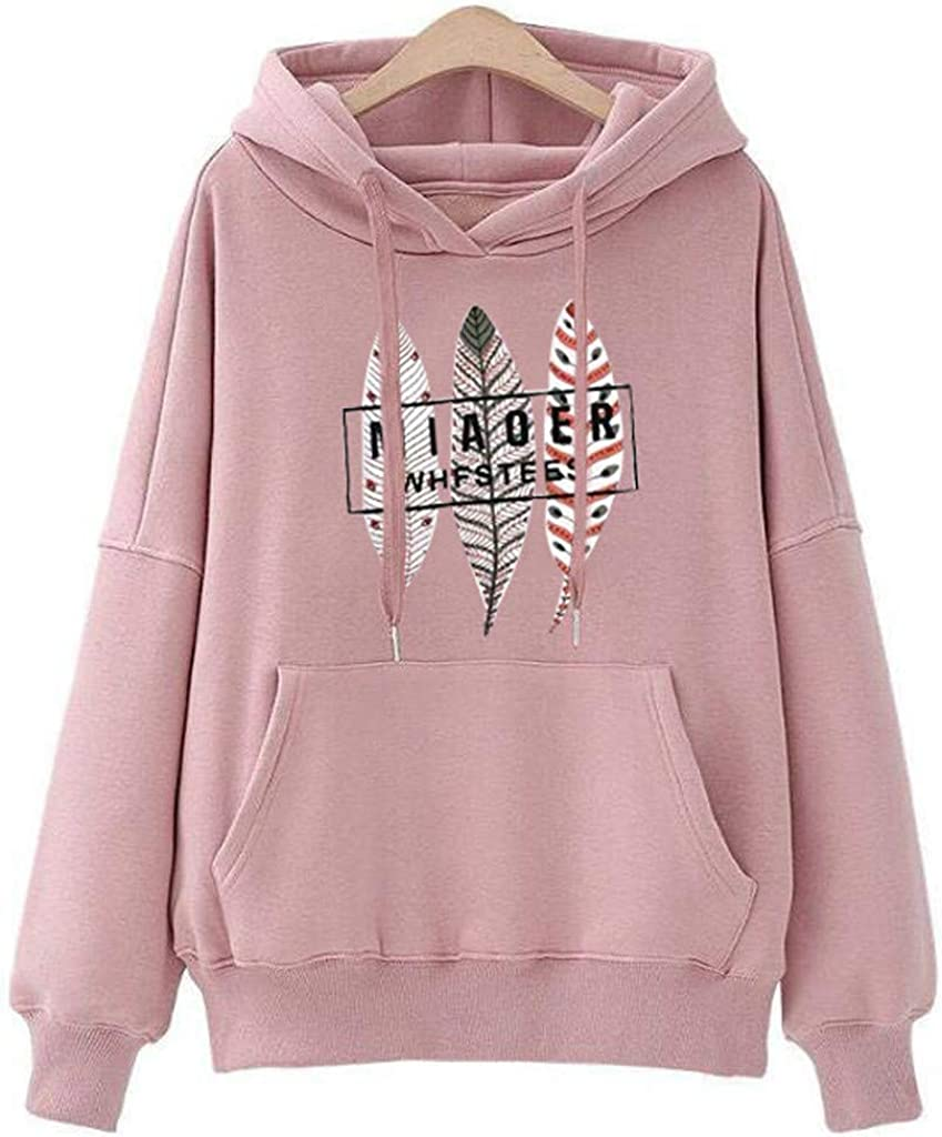 Hoodies for Women Pullover with Pockets Graphic Printed Supersoft Basic Workout Autummn Hooded Sweatshirts