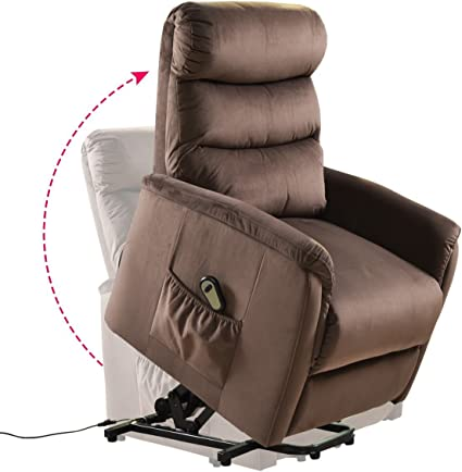 Amazon Com Giantex Power Lift Chair Recliner For Elderly Soft And Warm Fabric With Remote Control For Gentle Motor Living Room Furniture Chocolate Kitchen Dining