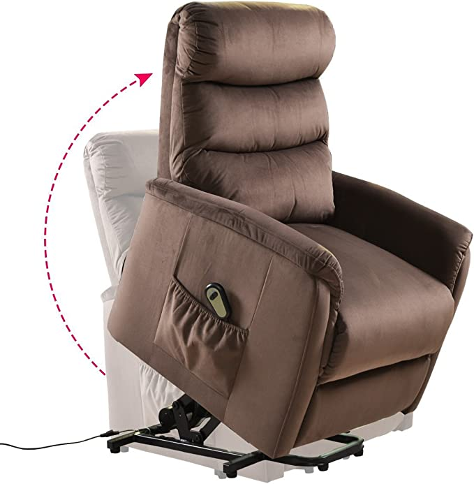 Giantex Power Lift Chair Recliner for Elderly Soft and Warm Fabric, with Remote Control for Gentle Motor Living Room Furniture
