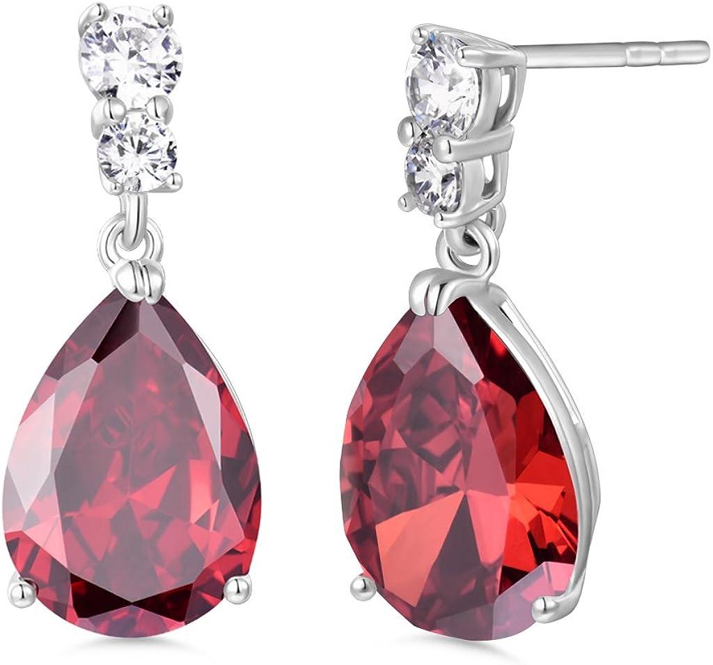 GULICX - Juego de pendientes de mujer de zafiro y rubí de plata, pulsera de tenis, color rojo/azul, blanco con circonitas