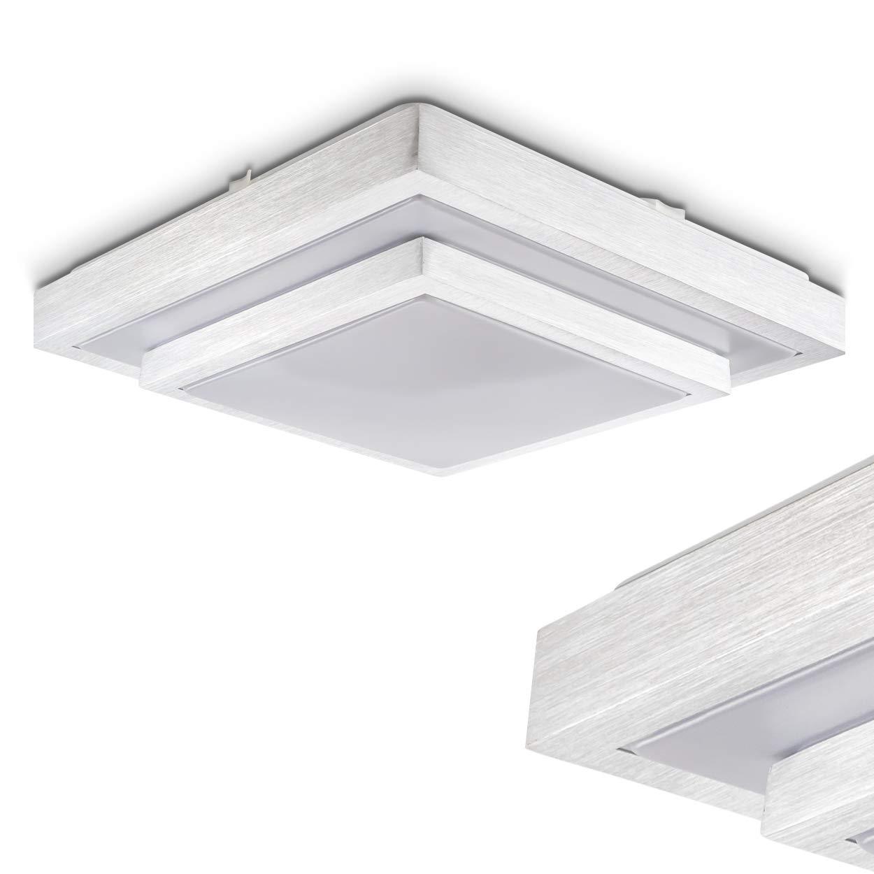Deckenlampe Sora mit LED-Lichtern aus Metall – Warmweißes, gemütliches Licht mit 3000 Kelvin und 22 Watt für das Badezimmer oder andere Zimmer – Toller Kontrast zwischen Weiß und gebürstetem Metall [Energieklasse A++] hofstein H166049