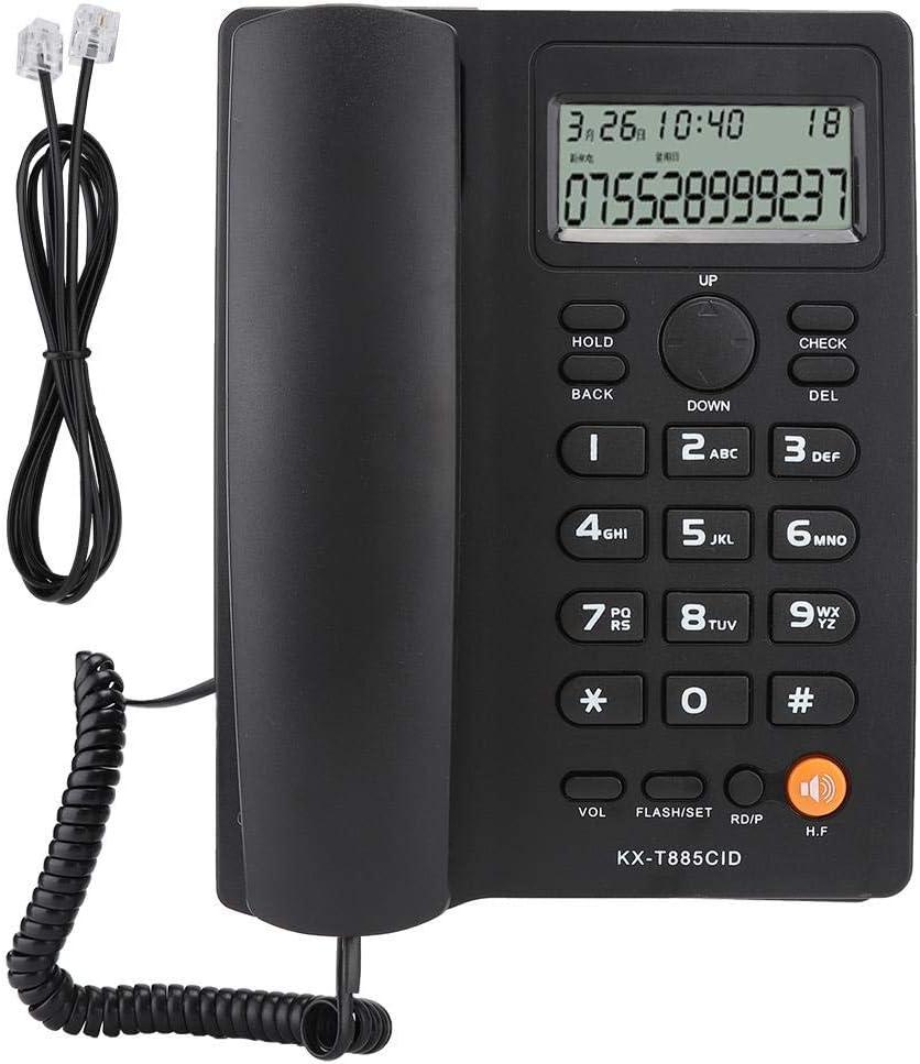 Teléfono con Cable, teléfono con Altavoz, teléfono Fijo Identificador de Llamadas Llamadas con Manos Libres Oficina en el Hotel Teléfono Fijo en inglés(Negro)