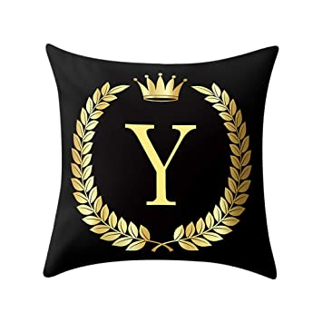 Modern Throw Pillow Covers Gold Foil Letters Printing Pillowcase
